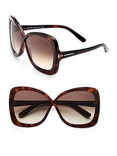 Tom Ford Eyewear Calgary Plastic Butterfly Sunglasses/Dark Havana