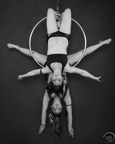 acromel aerial hoop doubles, aerial lyra doubles, duo hoop, double knee hang, back hang arch, doubles, black and white photography, aerial circus photography