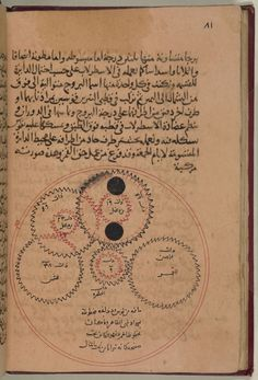 One of only three recorded copies of an influential treatise on the construction and use of astrolabes, a tool used by astronomers to predict the positions of the sun, moon and planets. This illustration shows internal gearing of this device and was the first surviving work to illustrate such miniature technology.  Photograph: British Library Qatar Foundation Partnership