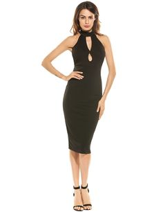 Red Women Sexy Halter Sleeveless Keyhole Solid Bodycon Pencil Party Dress