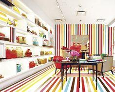 Design And Lifestyle New York Patterns Stripes Retail Interior Design Visual Merchandising Kate Spade Kate Spade, Visual Merchandising, Washi Tape, Tape Installation, Retail Store Design, Design Blog, Design Ideas, Painted Floors, Painted Wood