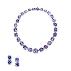 "A ""Samuel Getz"" Platinum Necklace Featuring 27 Cushion Shape Graduating Pink and Lavender Spinel Suite, 68.21 Carats, and (355) Round Brilliant Cut Diamonds, 18.38 Carats of F Color and VS1 Clarity.  The Matching Earrings Feature A Set of 4 Cushion Shape Pink and Lavender Spinel, 19.55 Carats and 64 Round Brilliant Cut Diamonds, 4.28 Carats of F Color and VS1 Clarity. #ombre #necklace"
