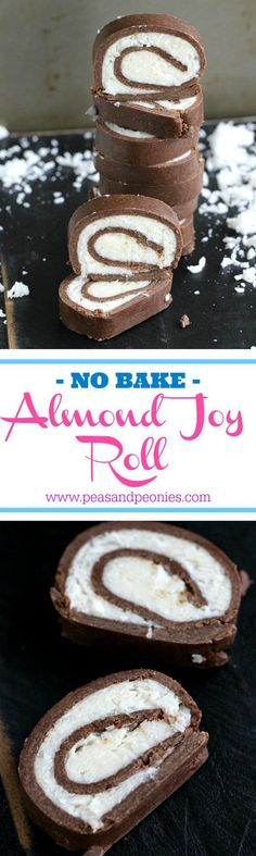 No Bake Almond Joy Roll - This easy and fun no bake almond joy roll is dense, chocolaty and has a creamy, sweet and smooth coconut filling. A perfect kitchen project for kids. - Peas and Peonies (No Bake Chocolate Desserts) Mini Desserts, Just Desserts, Delicious Desserts, Yummy Food, Candy Recipes, Baking Recipes, Dessert Recipes, Oreo Dessert, Yummy Treats