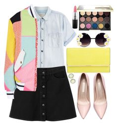 """""""Color Lady"""" by gabygirafe ❤ liked on Polyvore featuring мода, Current/Elliott, Monki, Moschino, Henri Bendel, Urban Decay, women's clothing, women, female и woman"""