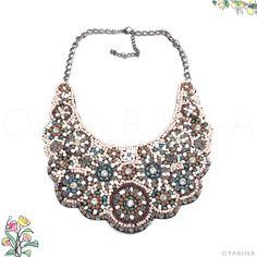 Collar de Chaquiras Tonos Tierra en Oparina. #oparina #bohochic #boho #bohemian #necklace