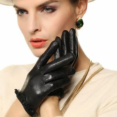 2017 Special Offer Women Genuine Leather Gloves Breathable Fashion Solid Wrist Lace Sheepskin Glove Female Lambskin L120NN