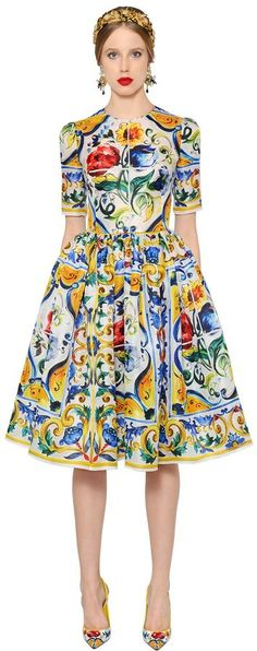 Maiolica Printed Silk Organza Dress. This dress is AMAZING! The print reminds me of an African print dress. (affiliate)