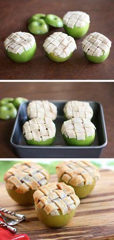apple pie baked inside of an apple