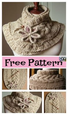 Gorgeous Knitted Flower Scarf  – Free Pattern