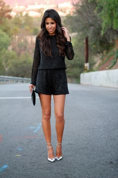 sequined romper, nye outfit, what to wear for NYE, holiday outfit, black jumper