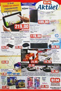 2017 Ocak ayının son bim aktüel ürünler kampanyasında 27 Ocak 2017 Cuma günü satılacak ürünlere bakacağız. Bimde bu hafta reyonlarda sizi bekleyecek tüm ürünleri aşağıdaki bim broşüründe bulabilirsiniz. Bim 27 Ocak broşürlerinin ilkinde Exper marka T7C tablet bilgisayar 219 TL fiyatla dikkat çekiyor. 1 TB taşınabilir harddisk 189 TL, trust taşınabilir şarj aleti 24.50 TL, A4 Tech mouse 22.50 TL, logitech MK 235 klavye mouse set 69.90 TL fiyatlarla satılacak. Chef's marka granit tava 22.50...