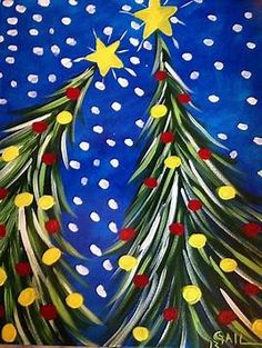 Image result for Easy Christmas Tree Paintings On Canvas
