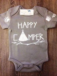 Happy Camper Baby, Boy, Girl, Unisex, Infant, Toddler, Newborn, Organic, Bodysuit, Outfit, One Piece, Onesie®, Onsie®, Onezie®, Tee