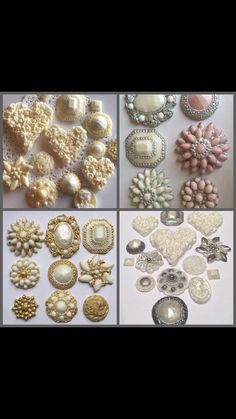 Vintage Edible Sugar Brooches Buttons Cake Cup Topper Wedding Gold Blue Pearl 3…
