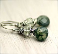 Handmade Wire Wrapped Moss Agate and Green Amethyst by PoppyLayne