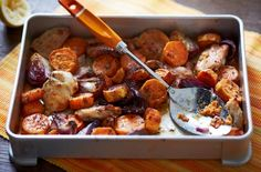 Chicken and sweet potato traybake
