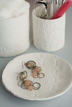 Petits pots en dentelle fait maison