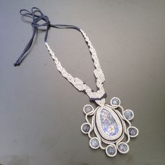 Grey Knight : Handcrafted Macrame Necklace by Jo Macrame.
