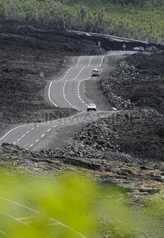 Reunion Island, new road paved through the latest lava flows