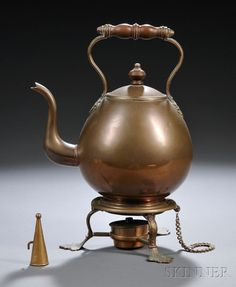George III Copper Kettle on Stand, with a wood han