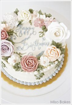57 Ideas Birthday Cake Decorating Flowers Buttercream Roses For 2019 Bolo Floral, Floral Cake, Buttercream Flower Cake, Buttercream Icing, Buttercream Birthday Cake, Gorgeous Cakes, Pretty Cakes, Birthday Cake Decorating, Cake Birthday