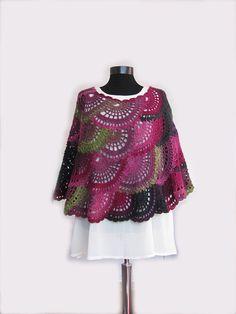 Crochet Poncho capa Multicolor Boho Poncho capa capucha | Etsy