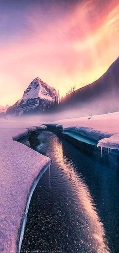 CANADA - Canadian Rockies #photo by Simon Roppel #alberta sunrise winter water sun light clouds cloudscape landscape sky sunset snow