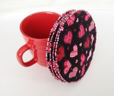 Heart Coasters with GlassBeaded Edges set of 4. by LasmasCreations, $15.00