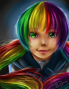 Rainbow Hair by =pikadiana