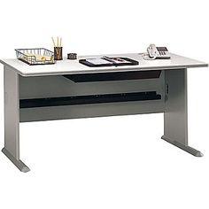 $240   Bush Cubix 60in. Desk, Pewter/White Spectrum