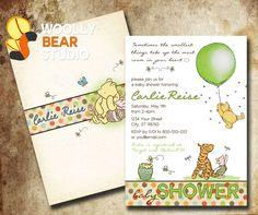 Printable Classic Winnie the Pooh Baby Shower by WoollyBearStudio, $14.99