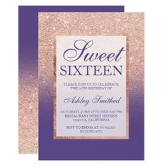 Faux rose gold glitter ombre purple Sweet 16 Card - rose style gifts diy customize special roses flowers