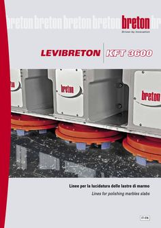 Levibreton KFT 3600 - Polishing marble slabs machine  The polishing marble slabs LEVIBRETON KFT 3600 comes in three versions, with 8, 14 and 17 spindles which are driven by a 11 kW motor each and hold plates with diameter of 550 mm; each plate holds 9 abrasive bricks for maximum removal capacity.