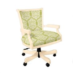 my home office will start with this great looking comfy swivel desk chair in ivory covered in sage green paisley fabric im already seeing the inspiration bedroom office chair