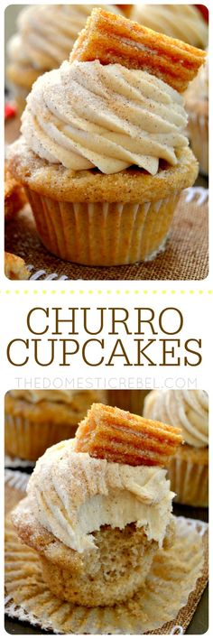 These Churro Cupcakes are bursting with cinnamon sugary goodness in every bite! Perfect for Cinco de Mayo or any occasion that calls for a moist, sweet and fluffy cinnamon-spiced cupcake topped with a crispy churro! by @hayleyparker08