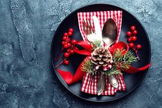 Colorful Christmas decoration on a dark plate by sea_wave on Envato Elements