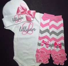 Personalized short sleeve bodysui, hat and leg warmer set for baby girl. Includes embroidered monogram. Baby shower and newborn gift sets,