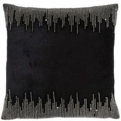 "Velvet-inspired pillow with silver studs.  Product: PillowConstruction Material: Rayon coverColor: BlackFeatures:  Insert includedVelvet-inspiredSilver stud details Dimensions: 20"" x 20""Cleaning and Care: Dry clean only"