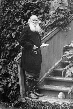 Leo Tolstoy (1828 – 1910) on the staircase of the terrace in his Yasnaya Polyana Estate