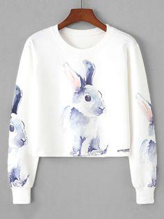 Sweatshirts by BORNTOWEAR. Rabbit Print Crop Sweatshirt