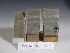 Perfect Grey              cone 10 R              Potash spar                       55  Whiting                         25  EPK                                 10  Glomax                       10     add:  Cobalt carb                        0.25  Nickel carb                        1.25  Rutile                                 3.5    breaks brown where thin