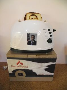 Whether you love or hate Obama, this Obama Toaster should let you express your feelings. If you love him, then you will now have his image burnt into your morning toast. If you don& like him, put him on toast and gobble him up. Cool Gadgets, Obama, More Fun, Toy Chest, Great Gifts, Lol, Toasters, Odd Stuff, Toaster