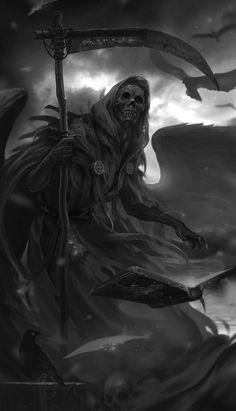 Grim Reaper - fantasy concept by Lee Kent The Reaper, Grim Reaper Art, Grim Reaper Tattoo, Grim Reaper Drawings, Skull Wallpaper, Dark Wallpaper, Dark Fantasy Art, Death God, Fantasy Artwork