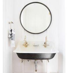 Again - this sink and love the mirror. Unique Bathroom Sink Ideas That Are So Fresh and So Clean, Clean via Trough Sink Bathroom, Unique Bathroom Sinks, Bathroom Kids, Bathroom Renos, Sink Faucets, Kohler Brockway Sink, Black Bathrooms, Loft Bathroom, Brass Bathroom
