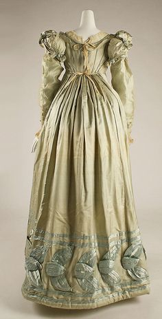 Dress (back view) 1820, American, Made of silk (Gothic Regency) dresses and skirt