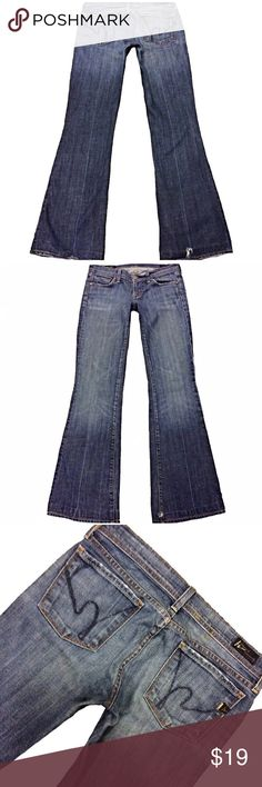 """Citizens of Humanity """"Ingrid Low Flare"""" SZ 26 Great pair of Citizens Of Humanity """"Ingrid #002 Low Waist Flair"""" Med Wash Women's SZ 26 Blue Jeans. Some wear on hem and tiny hole see pics Measurements: Waist: 29"""" Hips: 37"""" Front rise: 7"""" Back rise: 12.5"""" Inseam: 31.5"""" Citizens of Humanity Jeans Flare & Wide Leg"""