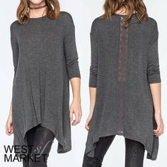 -SALE-  (one left!) Long Lace Back Grey Tunic Charcoal grey tunic with lace down the back. Extra comfortable stretch fabric! 3/4 length sleeve. Please note measurements, item may run different from standard sizing: Length - 29in, Bust - 37in. PLEASE COMMENT TO BUY THIS LISTING, I will make a separate listing for you! West Market SF Tops Tunics