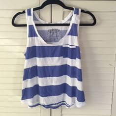 Striped Cotton Tank ••GOOD CONDITION•• blue and white striped cotton tank. •Make me an offer! Anything is negotiable!• Forever 21 Tops Tank Tops