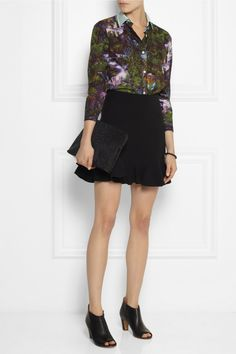 Carven | Printed cotton-poplin shirt | Victoria Beckham | Fluted silk and wool-blend mini skirt | Maison Martin Margiele | Leather ankle boots | 3.1 Phillip Lim | 31 Minute textured-leather clutch