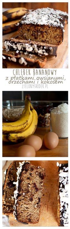 Chlebek bananowy z płatkami owsianymi, kokosem i orzechami. Bomba błonnikowa